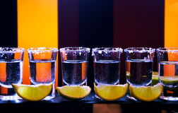 Shot drink set with citrus slices on bar Stock Images