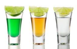 Shot drink set. On white Stock Photography