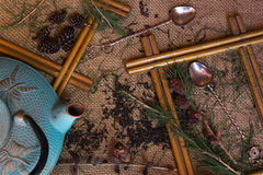 Shot from the dry black tea with pine branches Stock Images