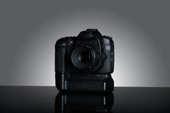 Shot of dslr camera in gray background Stock Photo