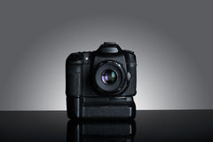 Shot of dslr camera in gray background Stock Images