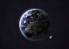 Shot of Earth taken from open space. Collage Royalty Free Stock Photography