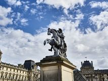 Shot of the equestrian statue of King Louis XIV stock photography