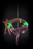 Shot of flexible athletic girls dancing on pole Stock Image