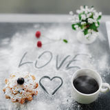 Shot of fresh english muffin and coffee for breakfest for lover. Stock Photos