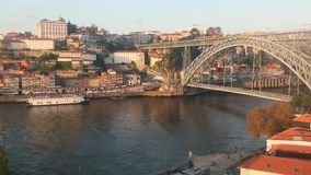 Shot of the funicular, camera movement - top view of flew over the historical center of Porto stock video