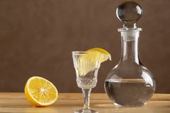 Shot garnished with lemon and carafe with vodka. Shot garnished with lemon and bottle with vodka royalty free stock images