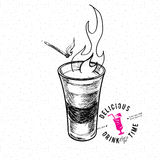 Shot glass. With fire. Hand drawn illustration Royalty Free Stock Photo
