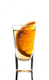 Shot glass with orange slice Royalty Free Stock Photo