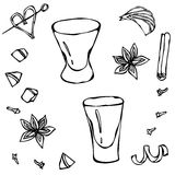 Shot Glass Sketch. Hand Drawn Vector illustration. Royalty Free Stock Photos