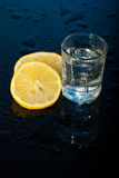 Shot glass of tequila and lemon Royalty Free Stock Images