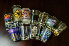 Shot glass travel collections Royalty Free Stock Photos