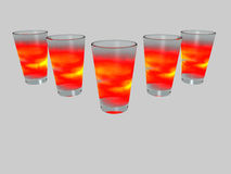 Shot glasses. Design element - 5 shot glasses - isolated - 3D Royalty Free Stock Images