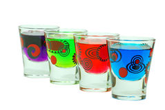 Shot glasses. Isolated Colorful Shot Glasses on a white background Stock Photo