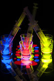 Shot Glasses with Glow Stick Juice Stock Image