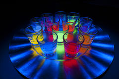Shot Glasses with Glow Stick Juice Royalty Free Stock Images