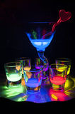 Shot Glasses with Glow Stick Juice Royalty Free Stock Image