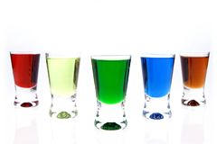 Shot glasses of liqueurs Stock Photo