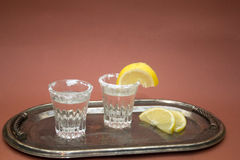 Shot glasses with tequila Royalty Free Stock Image