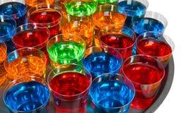 Shot glasses on tray stock photo