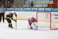 Shot on goal on closing ceremony of championship Royalty Free Stock Photo