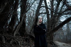 Shot of a gothic woman in a forest. Royalty Free Stock Images