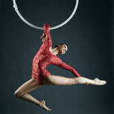 Shot of graceful female aerialist posing at camera Royalty Free Stock Photos