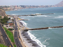 Shot of the Green Coast beach in Lima-Peru Stock Images