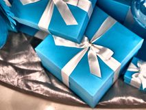 Shot of a group of boxes with presents stock photos