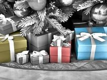 Shot of a group of boxes with presents stock images