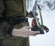 Shot-Gun with Cartridge Belt in Hands of Hunter Royalty Free Stock Photo