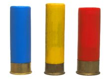Shot-gun shelf (16, 20, 12) - isolated. Three different sorts of shot bullets Royalty Free Stock Photography