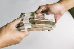 Shot of handover money stack. Royalty Free Stock Photos