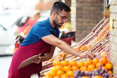Handsome young salesman doing inventory in health grocery shop. Shot of handsome young salesman doing inventory in health grocery shop royalty free stock image