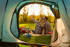 Camping mornings Royalty Free Stock Photos