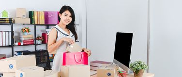 Young Asian business lady at office stock images