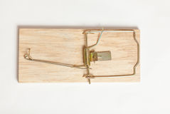 Shot from high point of wooden mouse trap Stock Photo