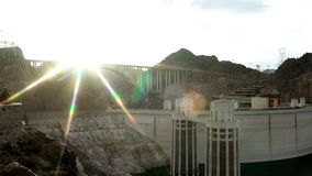 Shot of Hoover Dam and bridge on the background stock footage