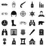 Shot icons set, simple style Royalty Free Stock Images