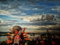 Shot During immersion of Goddess Durga. Bidding Good bye to children of Kolkata On the 10 day of the Puja festival Stock Photography