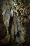 A shot inside the Cuevas del Aguila stalactite cave in Avila, Spain stock photo