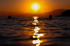 Sunset taking place in Salamina,Greece stock photography