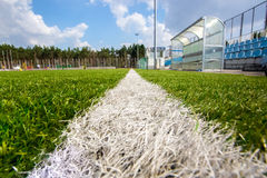 Shot from marking line of soccer field at sunny day Stock Photography