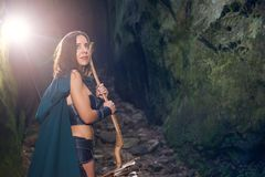 Mature Amazon warrior in the woods stock photo