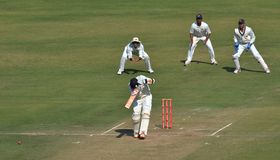 Shot missed by Batsman During a Cricket Match. Shot missed by a  Batsman during Ranji Trophy  Cricket Match at Indore Stock Photo