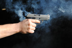 Gunshot. Shot with 22 mm gas gun Royalty Free Stock Photography