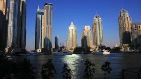 Shot of modern buildings at Dubai Marina, United Arab Emirates stock video footage