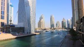 Shot of modern buildings at Dubai Marina, United Arab Emirates stock footage