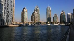 Shot of modern buildings at Dubai Marina, United Arab Emirates stock video