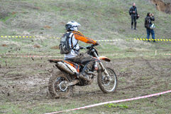 A shot of a motocross rider during a race Royalty Free Stock Images